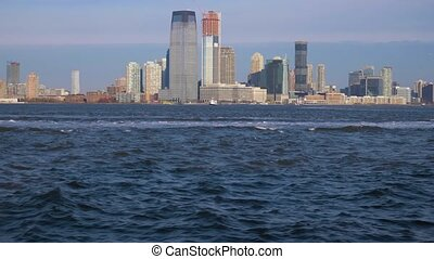 jersey city urban skyline in the morning view