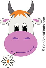 Jersey cow with a flower in its mouth looks cute vector or color illustration
