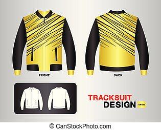 jersey., entrenamiento, jersey, y, baloncesto, tracksuit, fútbol, arriba, ilustración, layout., camiseta, vector, diseño, simulado, plantilla, futbol, moda, uniforme