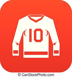 jersey hockey, icône, numérique, rouges