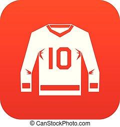 jersey hockey, icona, digitale, rosso