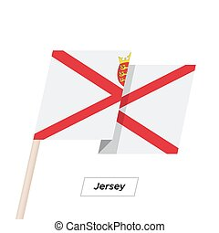 Jersey Ribbon Waving Flag Isolated on White. Vector Illustration. Jersey Flag with Sharp Corners