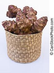 jerusalém, alcachofra, raiz, com, cesta, (helianthus, tuberosus)