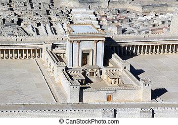 jerusalén, modelo, monte, antiguo, templo