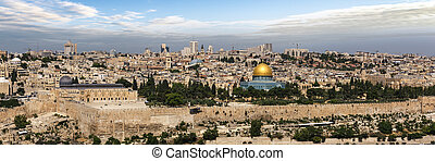 View of Jerusalem Old city and the Temple Mount, Dome of the Rock and Al Aqsa Mosque from the Mount of Olives in Jerusalem, Israel
