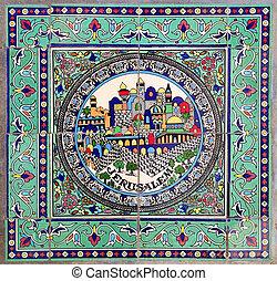 Jerusalem - city of jerusalem print on a floor tile