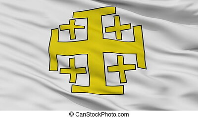 Jerusalem Cross Flag Closeup View Seamless Loop - Jerusalem...