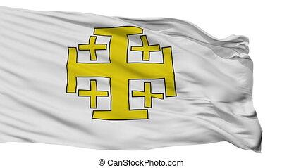 Jerusalem Cross Flag, Isolated On White Seamless Loop