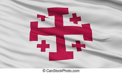 Jerusalem Cross Religious Close Up Waving Flag - Jerusalem...