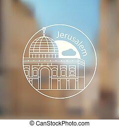Jerusalem detailed silhouette. Trendy stylish colorful...