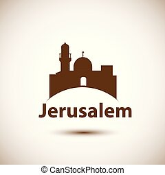 Jerusalem detailed silhouette. Trendy stylish colorful...