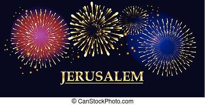 Jerusalem Fireworks festival banner, vector illustration