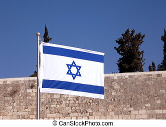 The Jewish flag fluttering on the Jerusalem, Israel