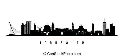 jerusalem, horisontal, horisont, banner.