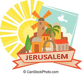 Cute clip art of Jerusalem with a sun and a dove in the background and the word Jerusalem at the front. Eps10