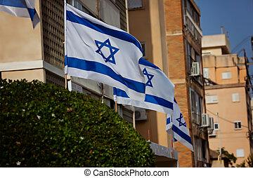 Jerusalem, Israel - Israeli flags on the street of the old city of Jerusalem