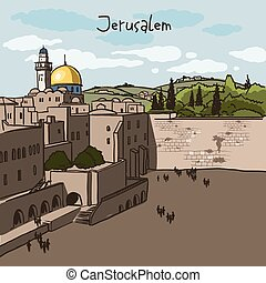 Jerusalem, Israel old city skyline. Wailing wall. Handmade ...