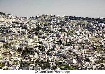 Jerusalem , Israel - View of holy city Jerusalem at evening...