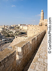 View from the old city wall of Jerusalem