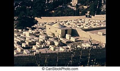 Jerusalem Jewish cemetery - Aerial view panorama of the...