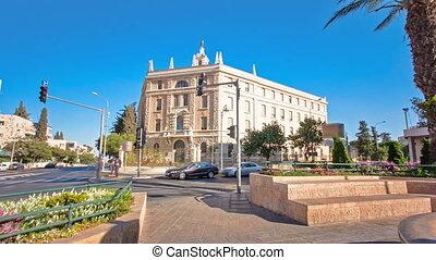 Jerusalem modern quarter near old city area timelapse...