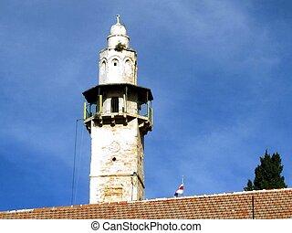 Minaret of the Mosque of Omar in old city Jerusalem, Israel
