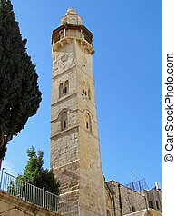 Minaret of the Mosque of Omar near Church of the Holy Sepulcher in Jerusalem, Israel