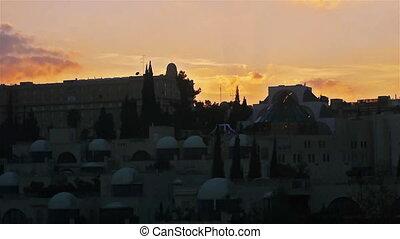 Jerusalem night view time lapse