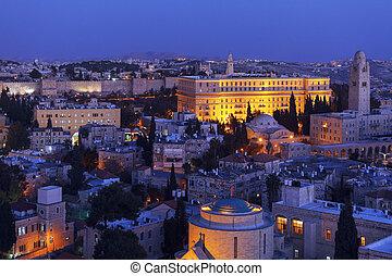 Jerusalem Old City at Night, Israel - Jerusalem Old City and...