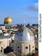 Jerusalem Old City - Dome of the Rock and Christian Basilica...