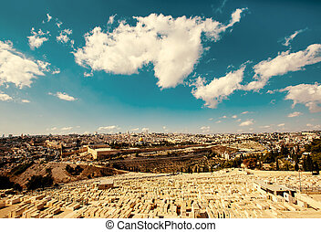 Jerusalem Old City view from Mount of Olives.