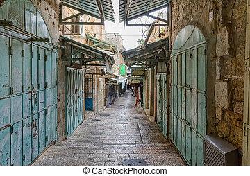 Jerusalem old street in the morning