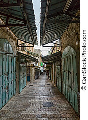 Jerusalem old street morning