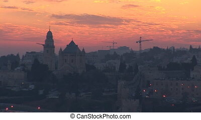 Jerusalem old sunset 5 - Jerusalem - sunset over the old...