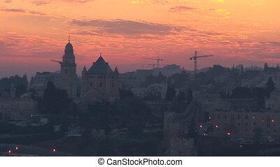 Jerusalem old sunset 5 - Jerusalem - sunset over the old...