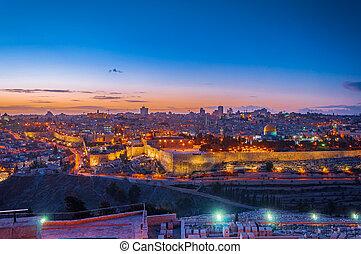 Jerusalem old town skyline illuminated by night
