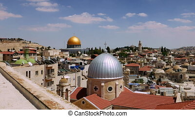 Jerusalem panoramic aerial roof view time lapse