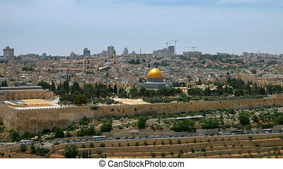 Jerusalem panoramic aerial view time lapse - Jerusalem...