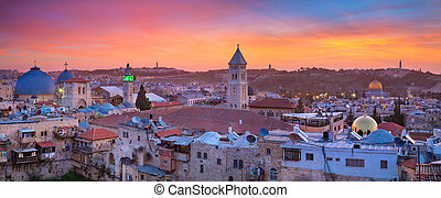 Panoramic cityscape image of old town of Jerusalem, Israel at sunrise.