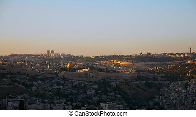 Jerusalem panoramic sunset view time lapse