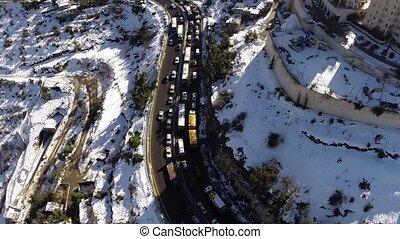 Jerusalem roads in the snow