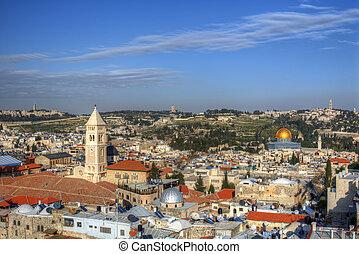 Jerusalem Scene - Aerial view the Old City of Jerusalem,...