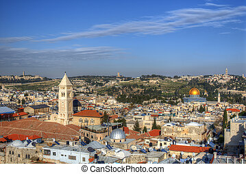 Jerusalem Scene - Aerial view the Old City of Jerusalem,...