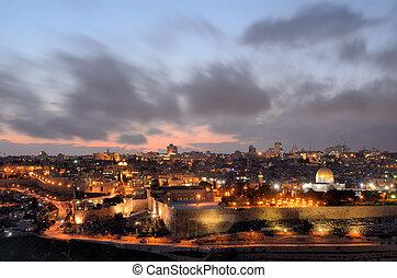 Jerusalem Skyline - Dome of the Rock along the Skyline of...
