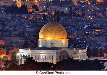 Dome of the Rock along the Skyline of the Old City of Jerusalem, Israel.