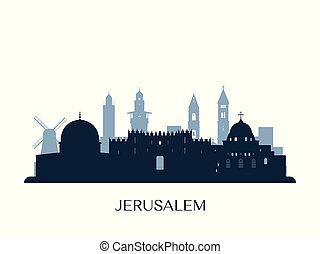 Jerusalem skyline, monochrome silhouette. Vector...