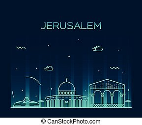 Jerusalem skyline stock illustrations 102 jerusalem skyline clip jerusalem skyline trendy vector linear style jerusalem altavistaventures