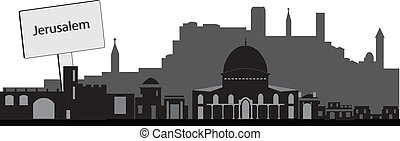 jerusalem skyline with text plate