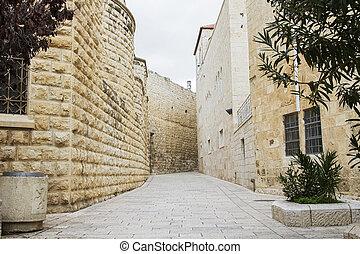 Jerusalem street in the old city .