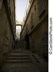 Jerusalem street travel on holy land